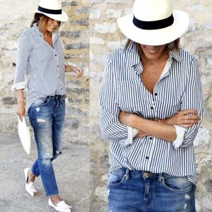 DAPHNE Striped Casual Top